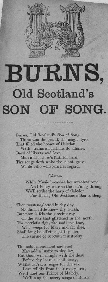Broadside ballad entitled 'Burns, Old Scotland's Son of Song'