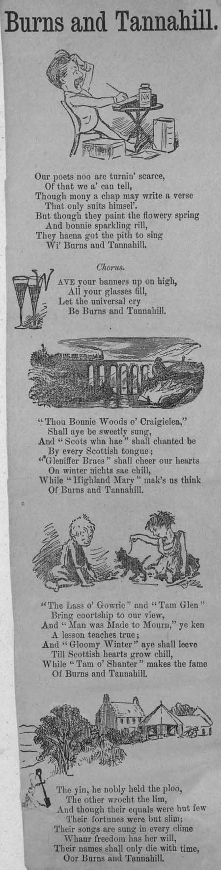 Broadside ballad entitled Burns and 'Tannahill'