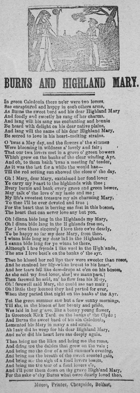 Broadside ballad entitled 'Burns and Highland Mary'