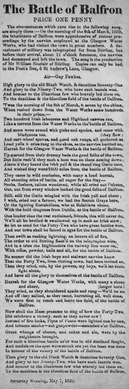 Broadside ballad entitled 'The Battle of Balfron'