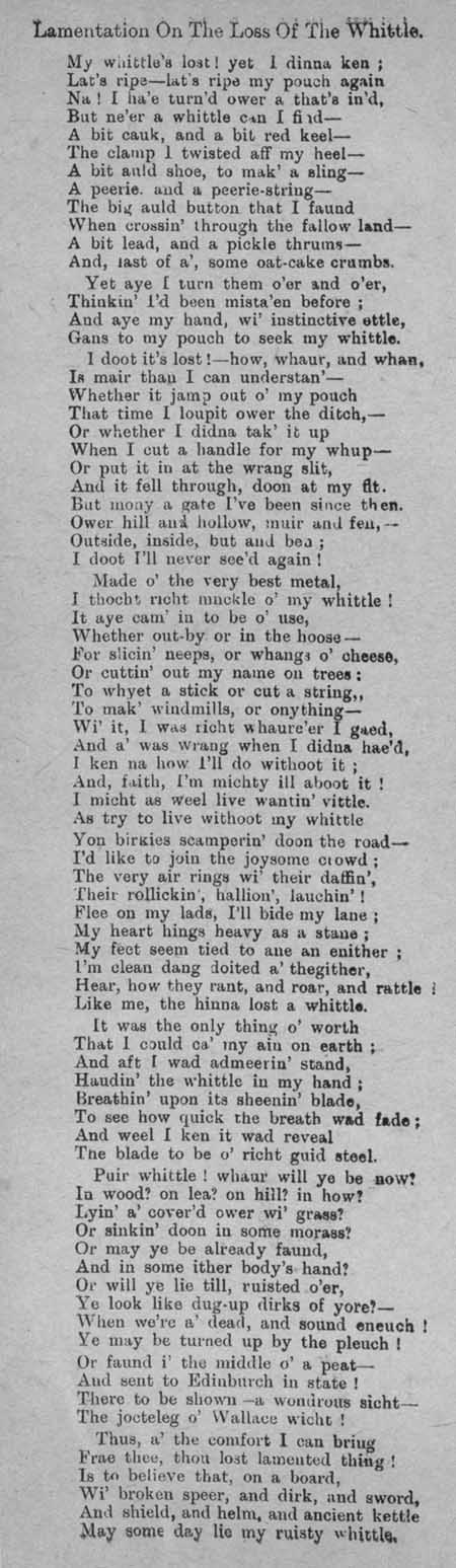 Broadside ballad entitled 'Lamentation on the Loss of the Whittle'