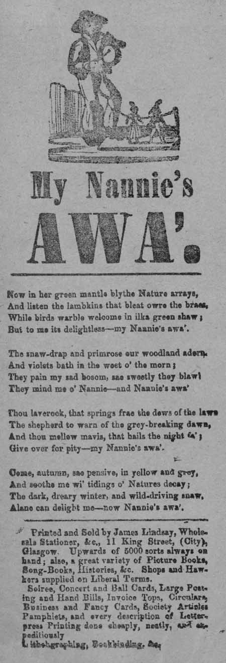 Broadside ballad entitled 'My Nannie's Awa'