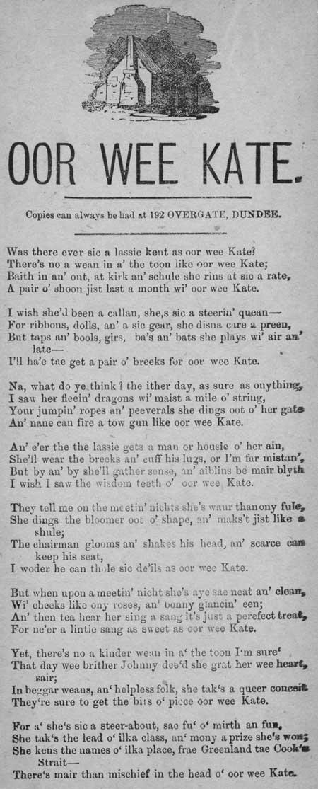 Broadside ballad entitled 'Oor Wee Kate'