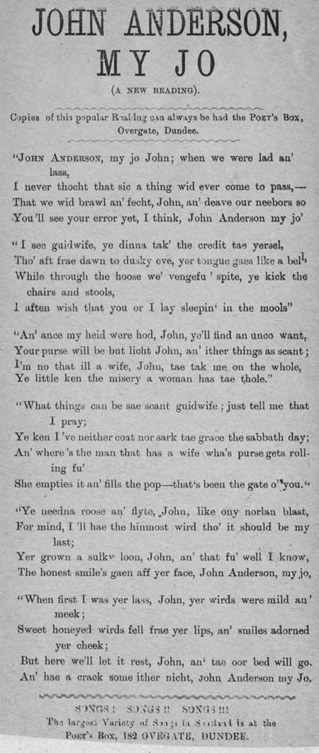 Broadside ballad entitled 'John Anderson, My Jo (a new reading)'