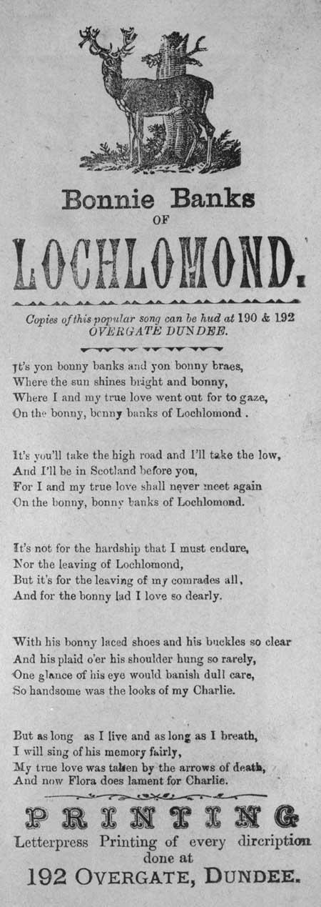Broadside ballad entitled 'Bonnie Banks Of Lochlomond'