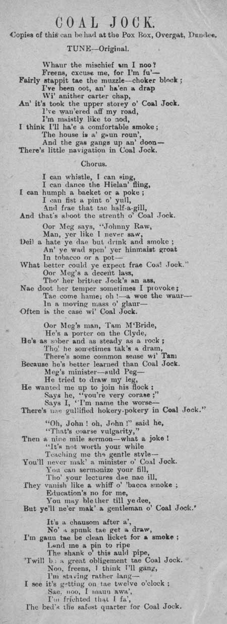 Broadside ballad entitled 'Coal Jock'