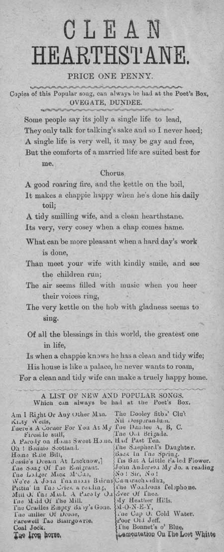 Broadside ballad entitled 'Clean Hearthstane'
