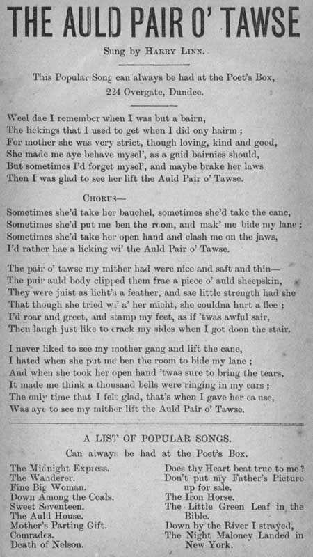 Broadside ballad entitled 'The Auld Pair O' Tawse'