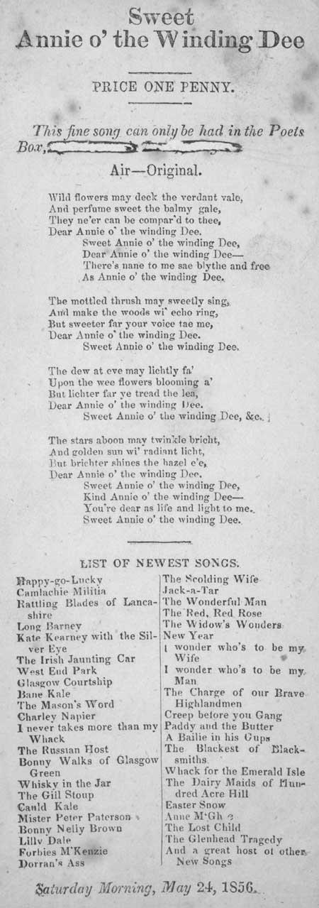 Broadside ballad entitled 'Sweet Annie o' the Winding Dee'