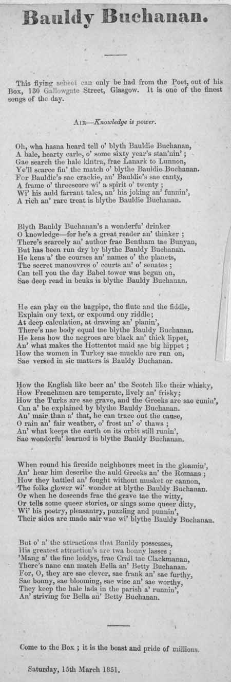 Broadside ballad entitled 'Bauldy Buchanan'