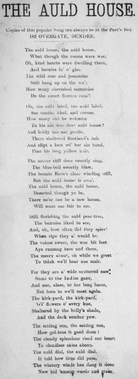 Broadside ballad entitled 'The Auld House'