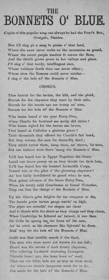 Broadside ballad entitled 'The Bonnets o' Blue'
