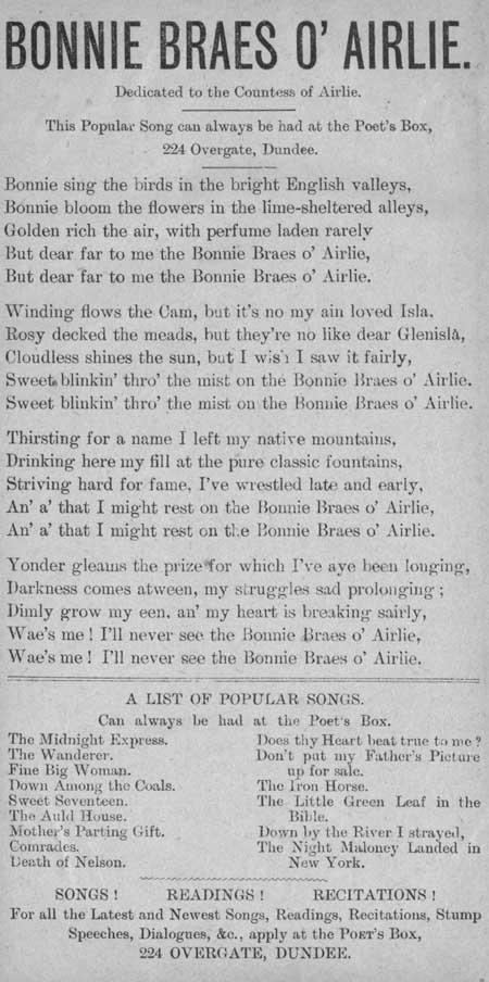 Broadside ballad entitled 'Bonnie Braes o' Airlie'