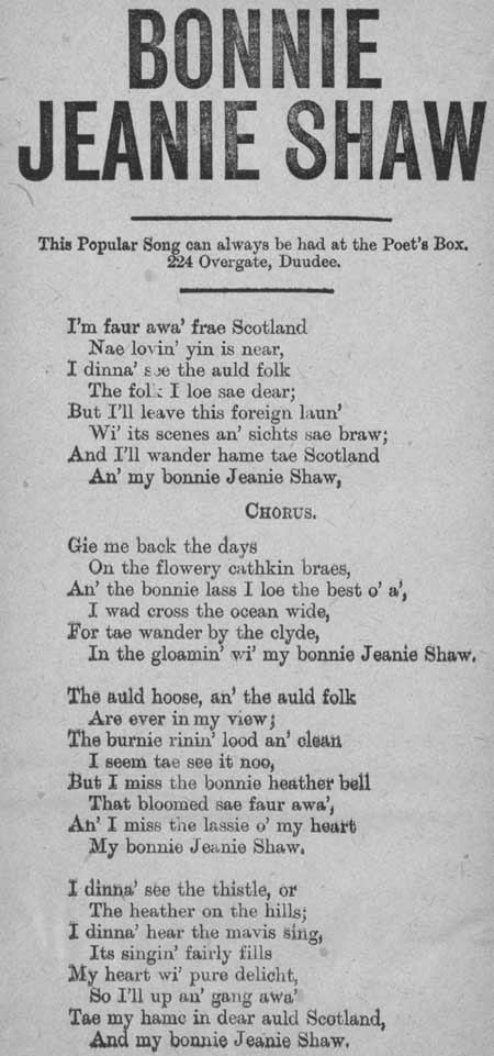 Broadside ballad entitled 'Bonnie Jeanie Shaw'
