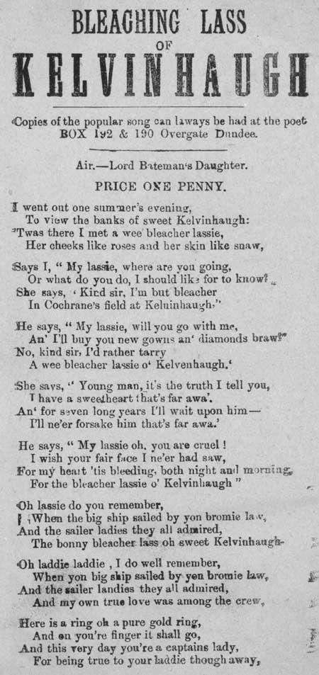 Broadside ballad entitled 'Bleaching Lass of Kelvinhaugh'