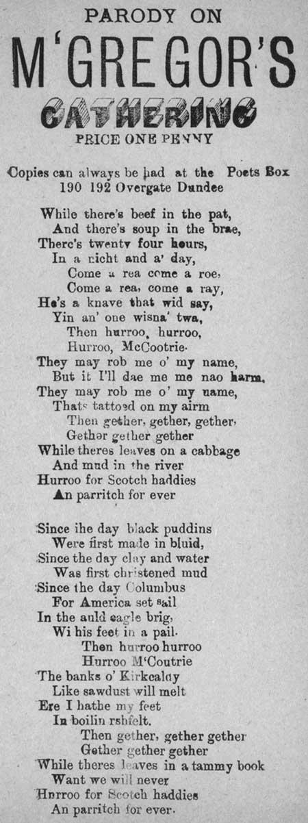 Broadside ballad entitled 'Parody on M'Gregor's Gathering'