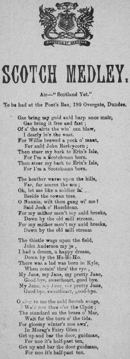 Broadside ballad entitled 'Scotch Medley'
