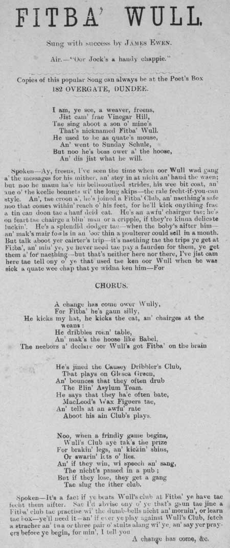 Broadside ballad entitled 'Fitba Wull'