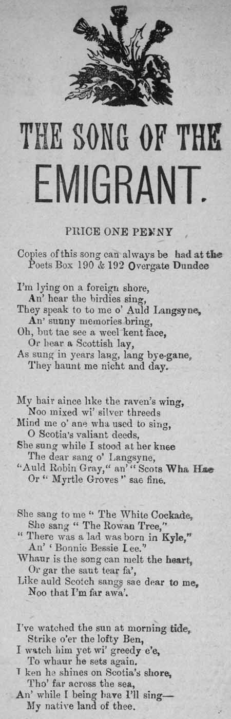 Broadside ballad entitled 'The Song of the Emigrant'