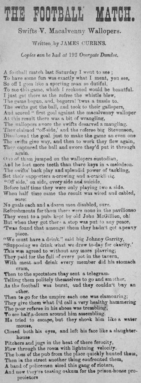 Broadside ballad entitled 'The Football Match'