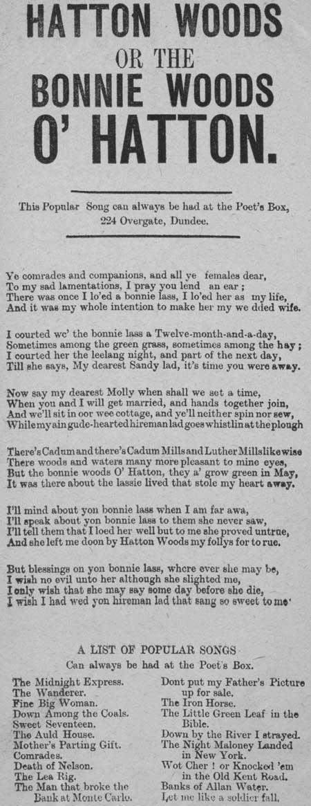 Broadside ballad entitled 'Hatton Woods' or 'The Bonnie Woods o' Hatton'