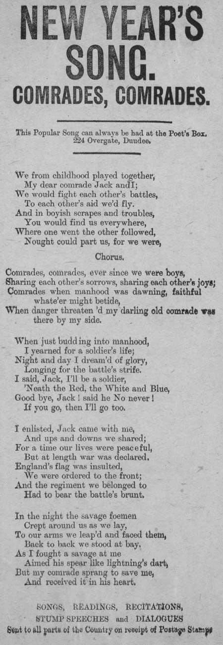Broadside ballad entitled 'New Year's Song. Comrades, Comrades'