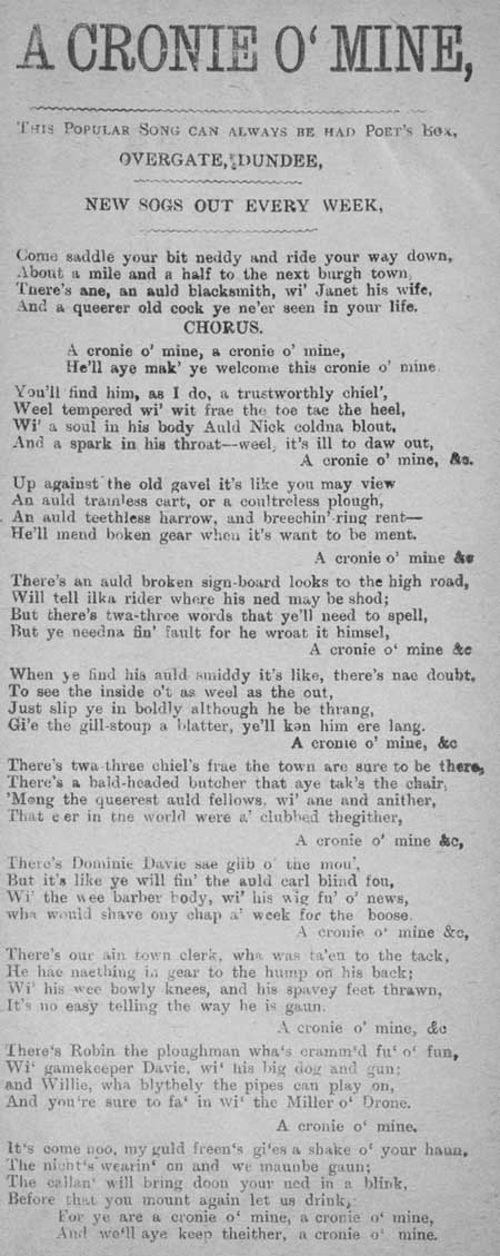 Broadside ballad entitled 'A Cronie o' Mine'