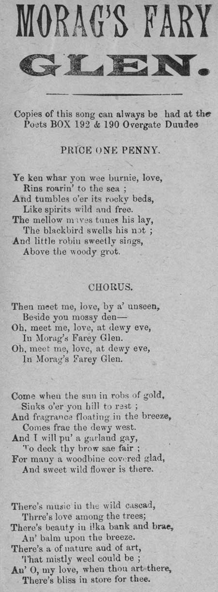 Broadside entitled 'Morag's Fary Glen'