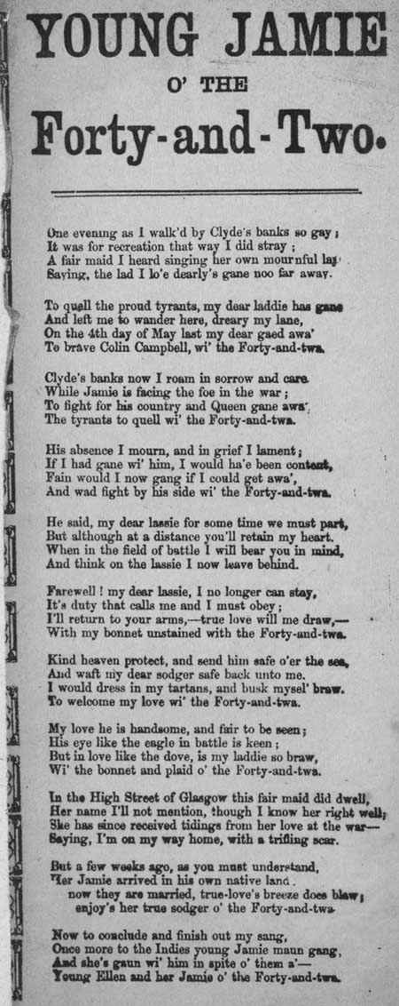 Broadside ballad entitled 'Young Jamie o' the Forty-and-Two'
