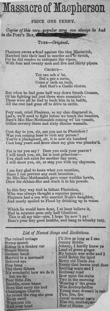 Broadside ballad entitled 'Massacre of Macpherson'