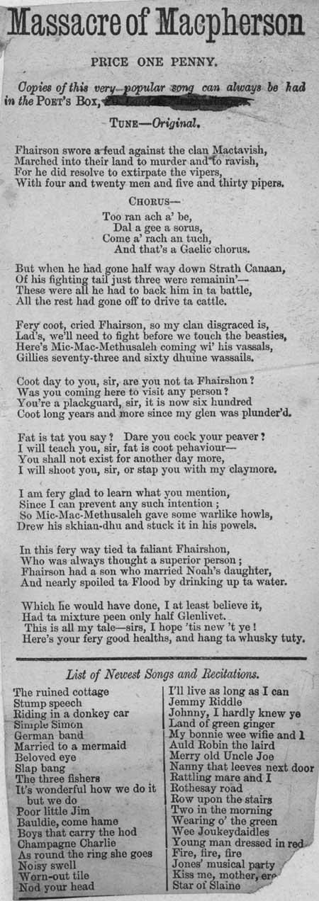 Broadside ballad entitled 'Massacre of Macpherson'