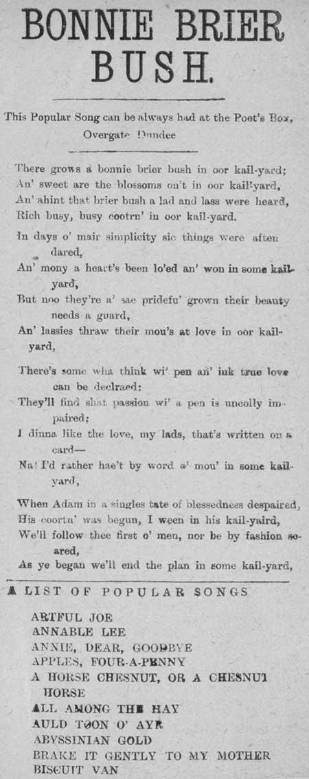 Broadside ballad entitled 'Bonnie Brier Bush'