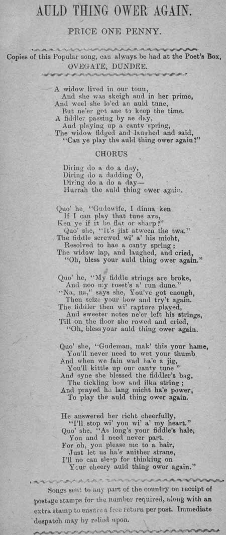 Broadside ballad entitled 'Auld Thing Ower Again'
