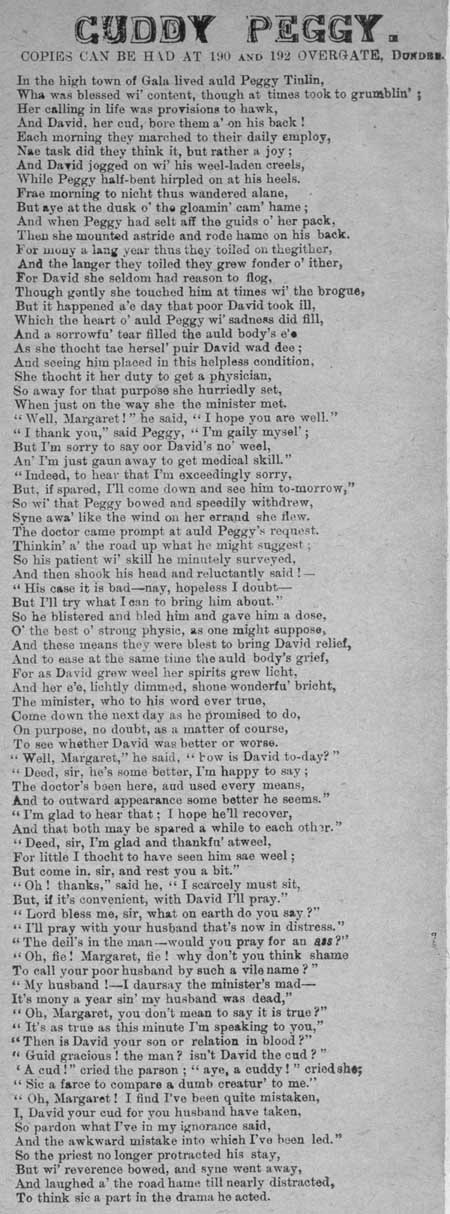 Broadside entitled 'Cuddy Peggy'