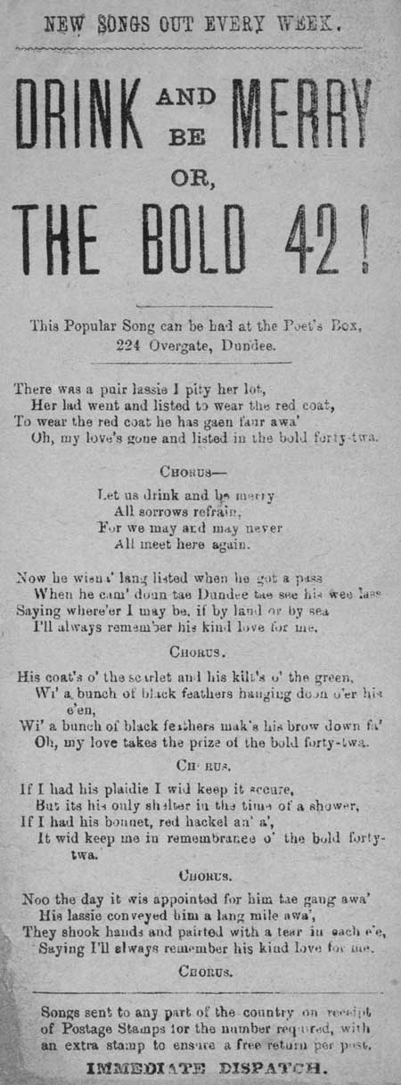 Broadside ballad entitled 'Drink and be Merry; or, The Bold 42!'