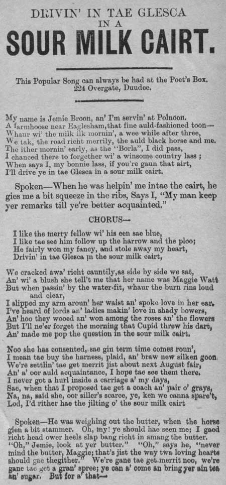 Broadside ballad entitled 'Drivin' in tae Glesca in a Sour Milk Cart'