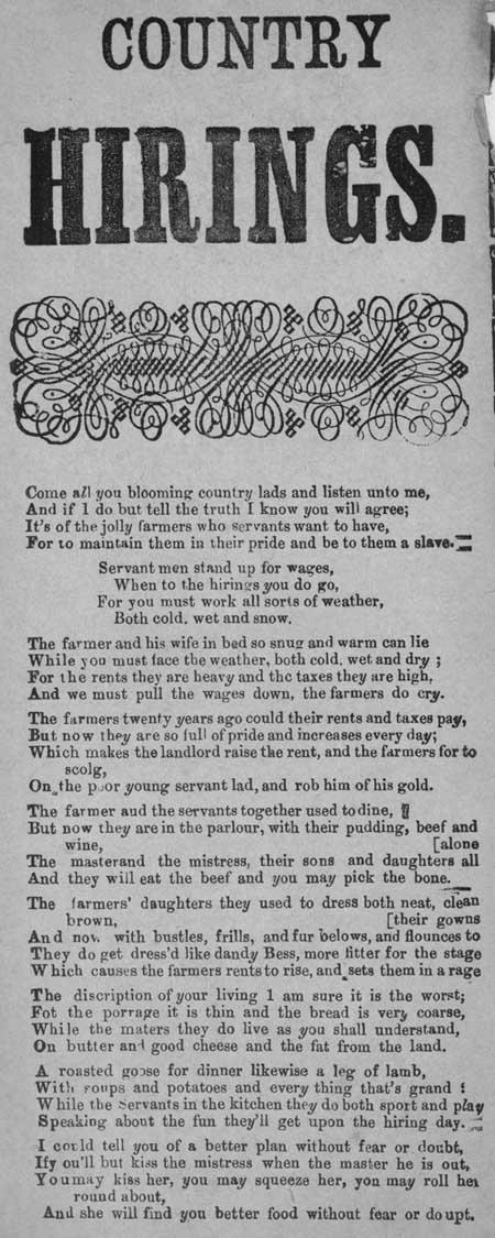 Broadside ballad entitled 'Country Hirings'
