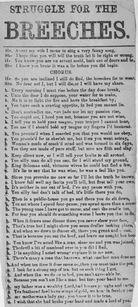 Broadside ballad entitled 'Struggle for the Breeches'