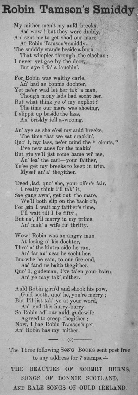 Broadside ballad entitled 'Robin Tamson's Smiddy'