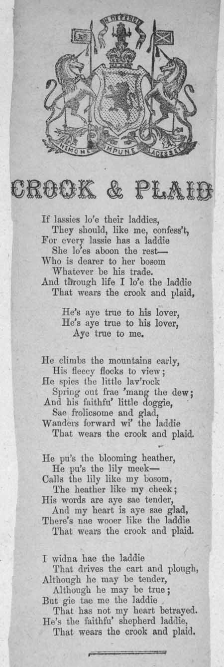 Broadside ballad entitled 'Crook & Plaid'