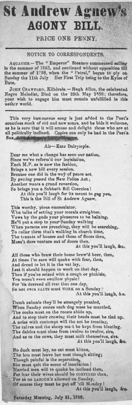 Broadside ballad entitled 'St Andrew Agnew's Agony Bill'