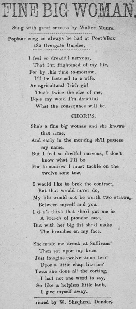 Broadside ballad entitled 'Fine Big Woman'