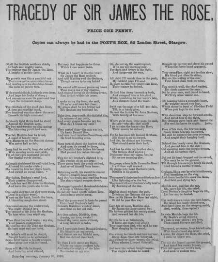 Broadside ballad entitled 'Tragedy of Sir James the Rose'