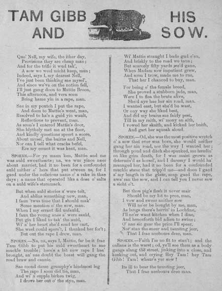 Broadside ballad entitled 'Tam Gibb and his Sow'