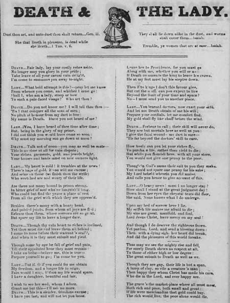 Broadside ballad entitled 'Death and the Lady'