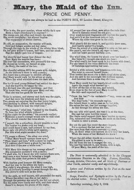 Broadside ballad entitled 'Mary, the Maid of the Inn'