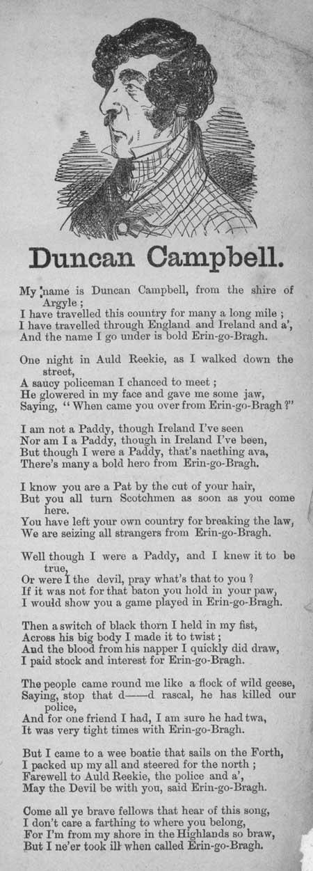 Broadside ballad entitled 'Duncan Campbell'