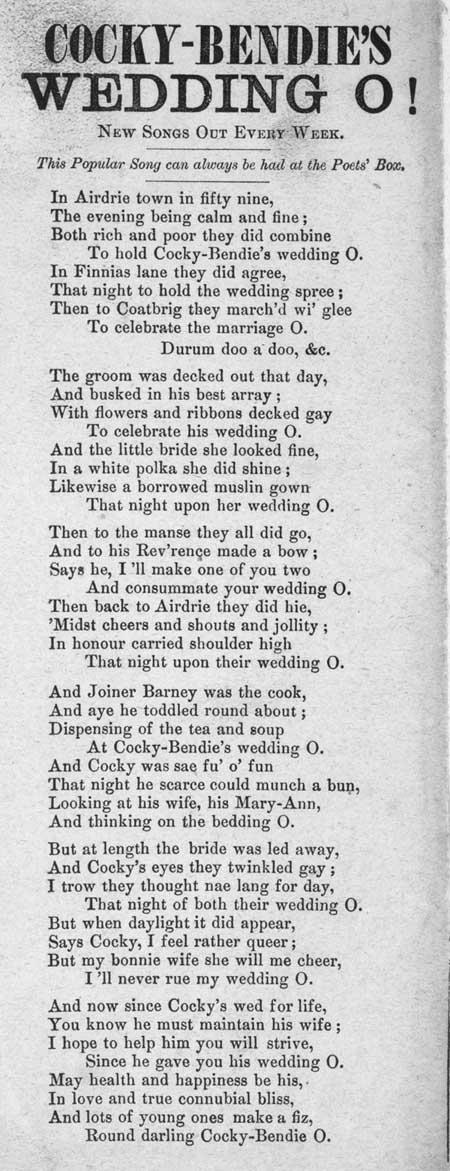Broadside ballad entitled 'Cocky-Bendie's Wedding O'