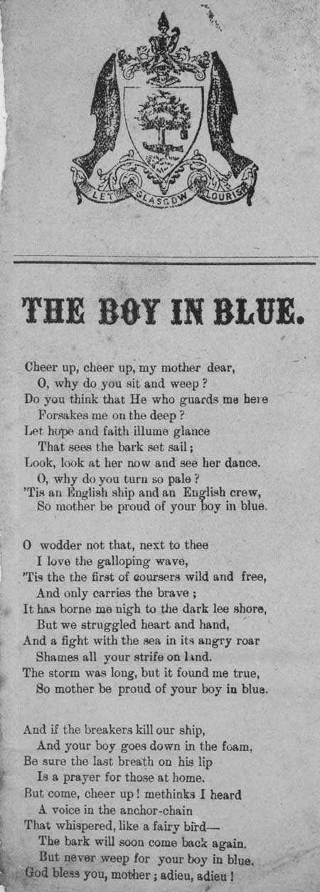 Broadside ballad entitled 'The Boy in Blue'