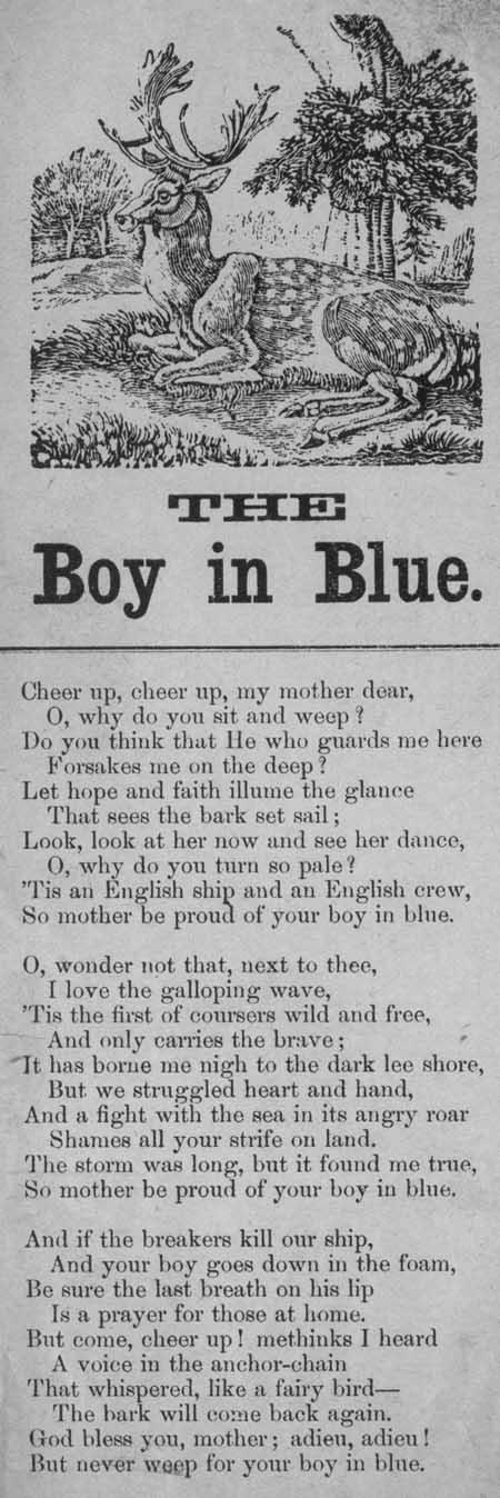 Broadside ballad entitled 'The boy in blue'.